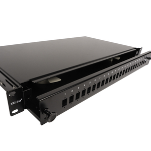 """KELine, optická vana výsuvná s čelem pro 24 x SC, E2000, LC Duplex adaptér 19"""" 1U černá"""