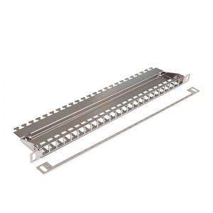 KELine, HD modulární patch panel neosazený pro 24xRJ45 HD 0,5U stříbrný